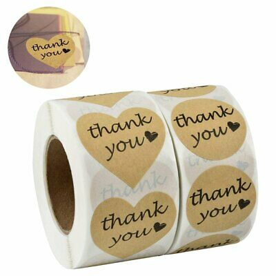 1000 Thank You Stickers Heart Love Shaped Kraft Paper - Round Adhesive Labels