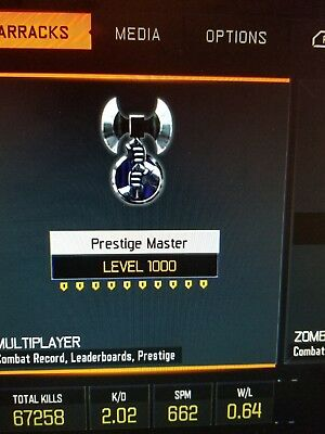 Ps4 Call of Duty Black Ops III bo3 Modded Account Multiplayer Level 1000
