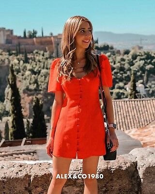 RARE-NWT ZARA SS18 RED DRESS WITH PUFF SLEEVE LINEN-XS S  MLXL