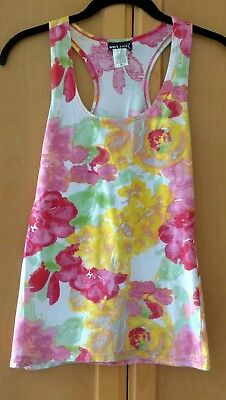 WET SEAL Womens Tank Top CottonSpandex Size M Floral Racer-Back Sleeveless