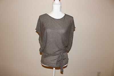 EUC Wet Seal Grey Sparkle Glitter Shimmer Top with Bow Wrap Detail Women Size OS