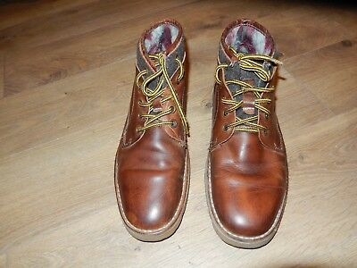 ALDO MENS BOOTS SIZE 9 LINED LOVELY BROWN PATINA