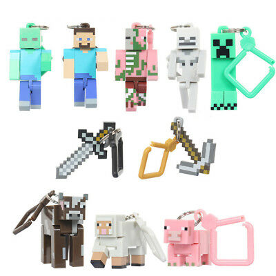 Minecraft Series 1 Skeleto Cow 10PCS Keyring Keychain Hanger Game Minifigure Toy
