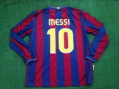 Messi Nike Fc Barcelona home long sleeve 2009 2010 soccer jersey L 343812-496