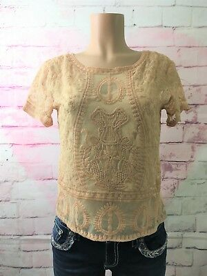 NWOT Zara Nude Lace Top Size Medium M