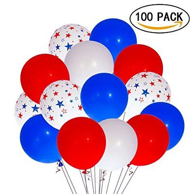 Patriotic Decorations Star Latex Balloons 100 pcs 4th of July Patriotic Party