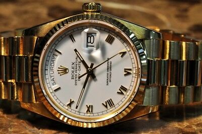 Rolex President Day Date MENS 18k Yellow Gold with White Roman Dial 18038