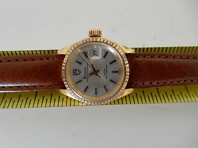 ROLEX TUDOR PRINCESS OYSTER DATE ROTOR SELF WINDING AUTOMATIC GOLD WRIST WATCH