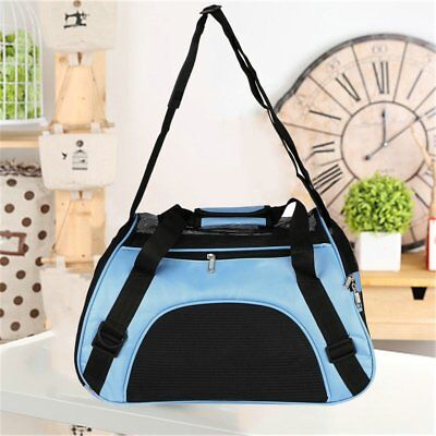 Pet Carrier Soft Sided Large Cat  Dog Comfort Blue Bag Travel Approved USA OY