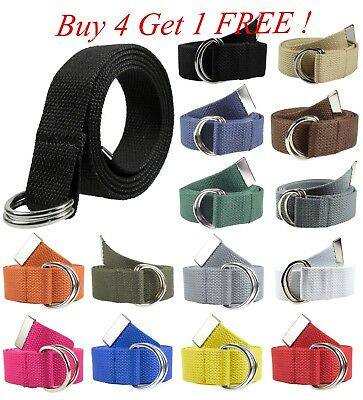 Canvas Web D Ring Belt Silver Buckle Military Style for men - women