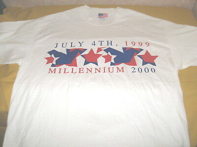 Rare FOURTH OF JULY 1999 Red White Blue Patriotic MILLENNIUM 2000 T-Shirt New XL
