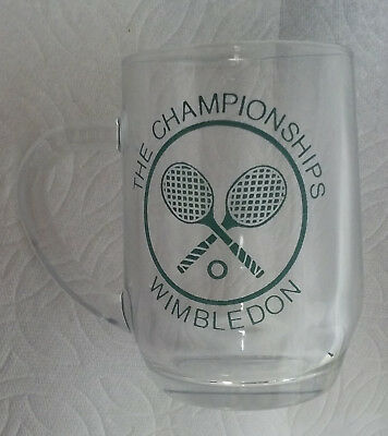 WIMBLEDON UK THE CHAMPIONSHIPS TENNIS DRINKING GLASS COLLECTIBLE W SCRATCH