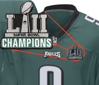 Philadelphia Eagles Champions Patch For Football Jersey 2018 Super Bowl 52