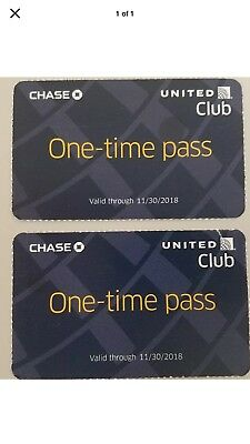 2 Chase United Airlines Club One-Time Passes Exp 11302018