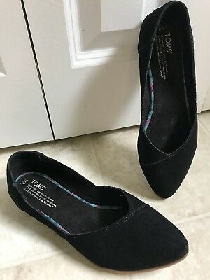 Toms Womens Flats Size 8 Black Suede Leather Point Toe Shoes EUC