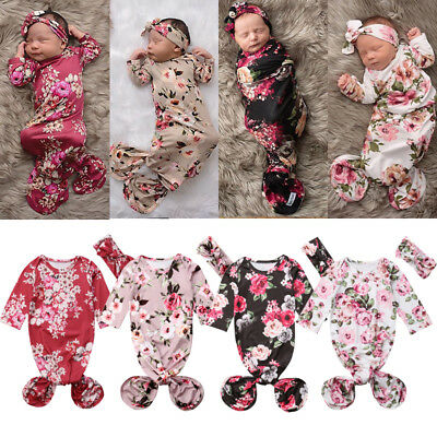 US Cute Baby Girl Flower Swaddle Wrap Blanket Long Sleeve Sleeping Bag-Headband