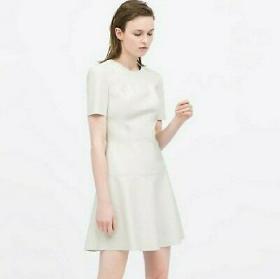 Zara Woman Faux Leather Fit and Flare dress Cream Sz XS