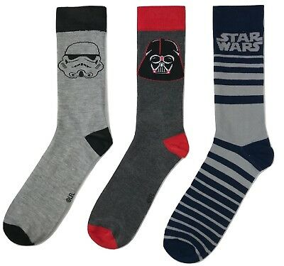3 Pack Star Wars Darth Vader Stormtrooper Mens Casual Socks Sz 6-12 NWOT