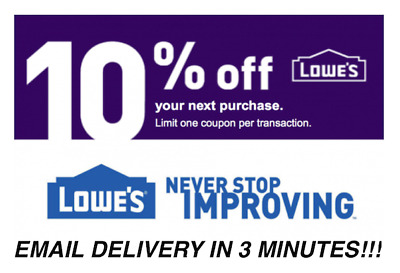 ONE 1x Lowes 10 OFF Coupons Discount - Lowes In storeonline - Fast Delivery