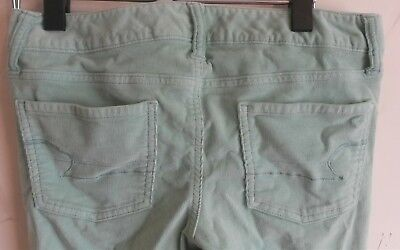 AMERICAN EAGLE OUTFITTERS WOMENS 2 MINT GREEN JEGGING JEANS SKINNY CORDEROY