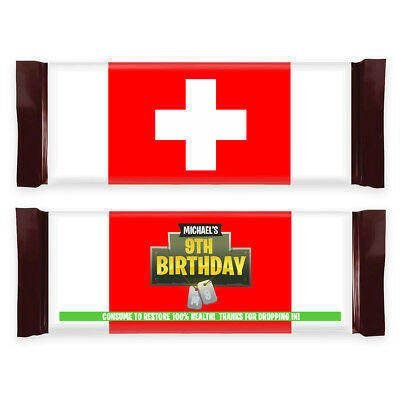 12 Fortnite Birthday Party Battle Royale Medkit Chocolate Bar Candy Wrappers