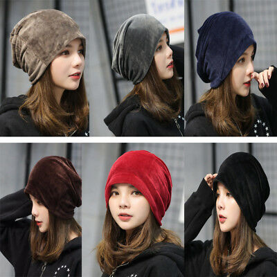 US Women Men Winter Velvet Ski Slouch Hat Unisex Cap Hip-Hop Warm Hats Beanie