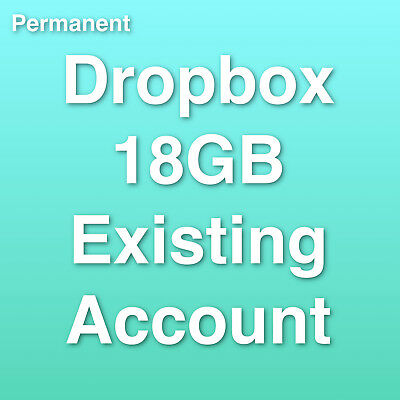 Dropbox Permanent 18GB Existing Account with changeable email address - password