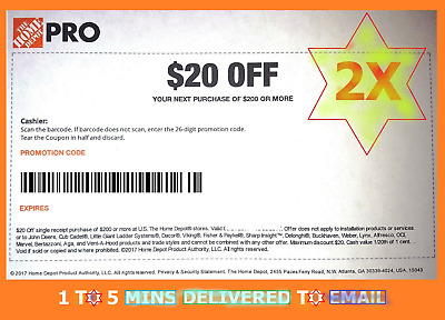 2x TW0 Home Depot Coupon 20 Off 200 IN-STORE ONLY -Fast DeIivered
