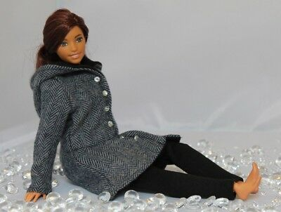 Clothes for Curvy Barbie Doll- Hooded Coat and Leggings for Dolls №4