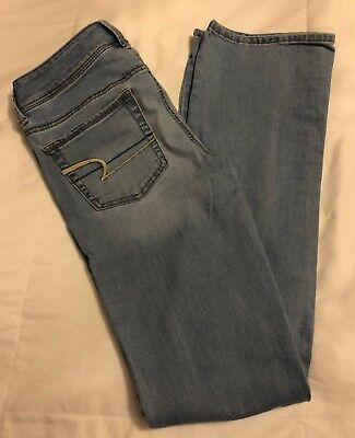 American Eagle Outfitters Womens Light Wash Kick Boot Denim Jeans Size 6 Long