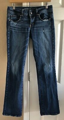 American Eagle Outfitters Womens Dark Wash Kick Boot Denim Jeans Size 8 Long