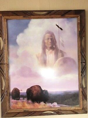 Framed Print Of NATIVE AMERICAN WARRIOR SPIRIT WATCHING OVER BUFFALO 23x19 ½