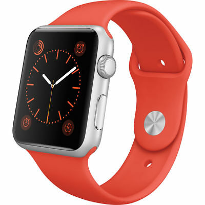 NEW APPLE WATCH SPORT 42MM SILVER ALUMINUM CASE ORANGE SPORT BAND - HERMES LOOK
