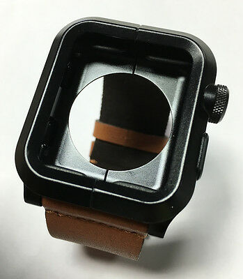 LUNATIK EPIK-012 Black Aluminum - Brown Leather Band for Apple Watch 42mm - VG