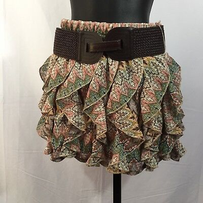 Wet Seal Size M Multi-Color Ruffled Belted Mini Skirt