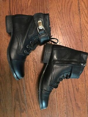 Steve Madden Tennasee Lace Up Leather Boot Black Women Sz 7M 4050