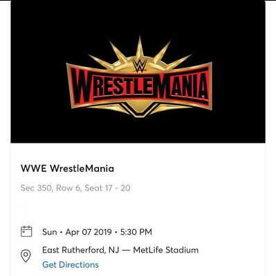 WWE WrestleMania 35 Tickets New York - 4 Available