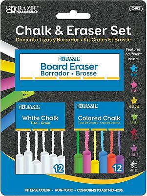 BAZIC 12 Color - 12 White Chalk with Eraser Set - School Crafts Art Outside
