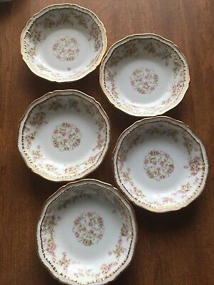 Theodore Haviland Limoges Schleiger 5 Small Berry Bowls Pink Rose Double Gold 5