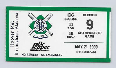 2000 SEC CHAMPIONSHIP TOURNAMENT CHAMPIONSHIP GAME TICKET LSU 9 FLORIDA 6