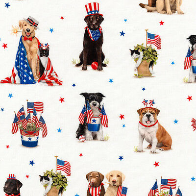 Robert Kaufman Red White and Blue Fourth of July Dogs