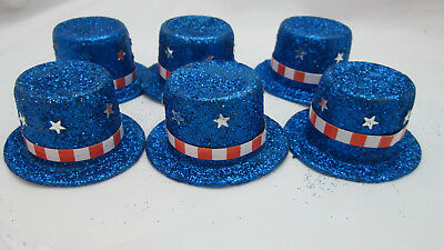 6 Fourth of July Uncle Sam Party Decoration Mini Plastic Glittered Top Hat