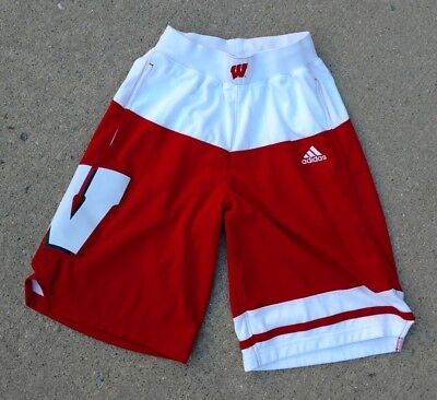 Wisconsin Badgers ADIDAS NCAA Authentic On-Court March Madness Away Shorts SMALL