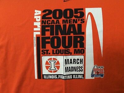 Rare University of Illinois March Madness 2005 Final Four Tshirt- New Nike XL