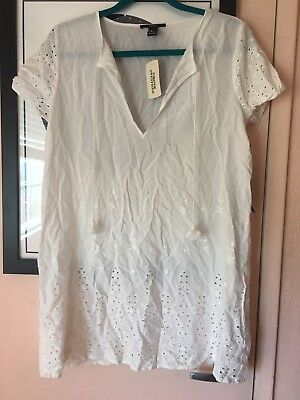 Forever 21 Size M White Eyelet Embroidered Short Sleeve Tie Dress NWT