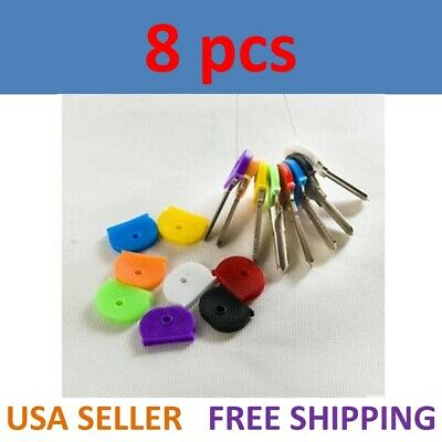 8 Pcs Key Cap Tags Label ID Silicone Coding Color Key Identifier Cover 8 Colors