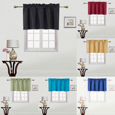 1PC STRAIGHT VALANCE SWAG LINED WINDOW CURTAIN DRAPE SOLID COLORS 38 W X 18 L