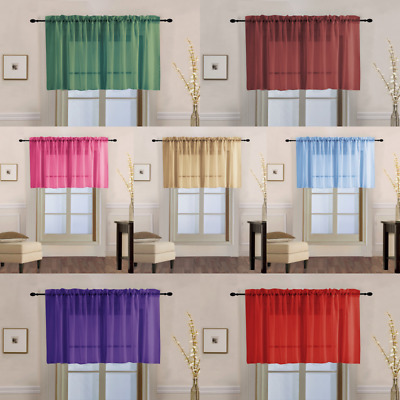 1PC SHEER STRAIGHT VALANCE WINDOW CURTAIN TOPPER SOLID COLORS 55 W X 18 L