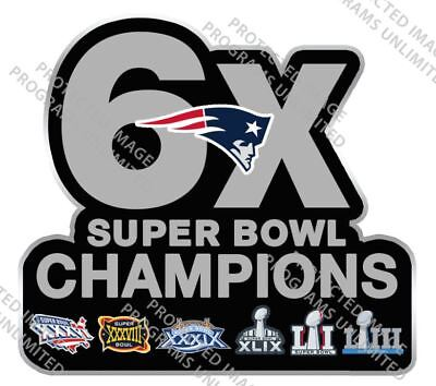 SUPER BOWL 53 LIII NEW ENGLAND PATRIOTS PIN 6X CHAMPIONS SUPERBOWL PATCH STYLE