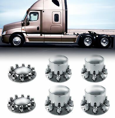 Chrome Semi Truck Hub Cover Wheel Kit Axle Cover 33mm Lug Front - Rear Complete